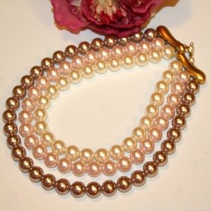 VTG Tri-Color Faux Pearls Matte Gold Necklace NPL3